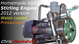 Pressurized and water cooled Stirling engine
