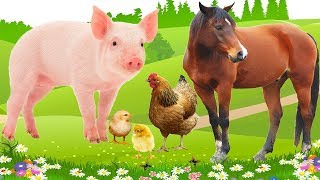 Learn Farm Animals Names And Sounds For Kids - Learning Animals Video For Children