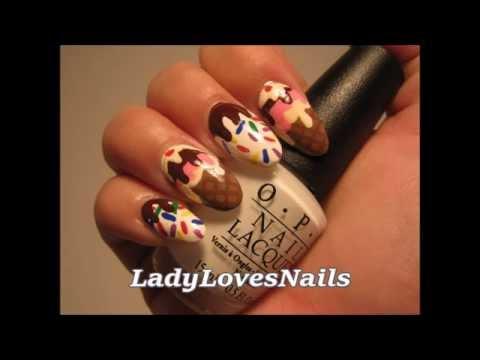 ice cream cone nail art tutorial