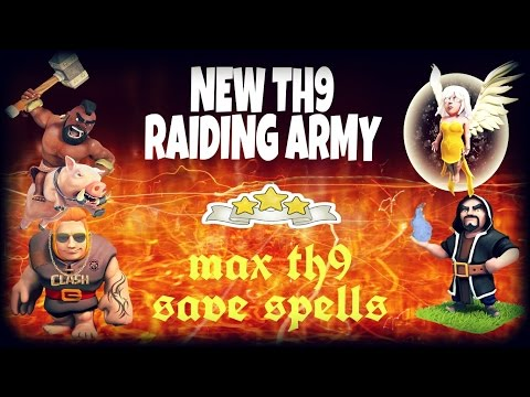 Best Townhall 9 (TH9) raiding attack strategy   3 star max th9 + bombtower   Clash of Clans