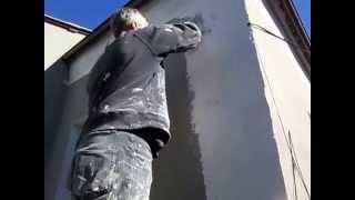 Короед. Нанесение декоративной штукатурки на стены. Утепление дома(Качественное нанесение декоративной штукатурки
