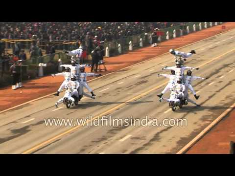 Corps of Signals perform motorbike stunts in India