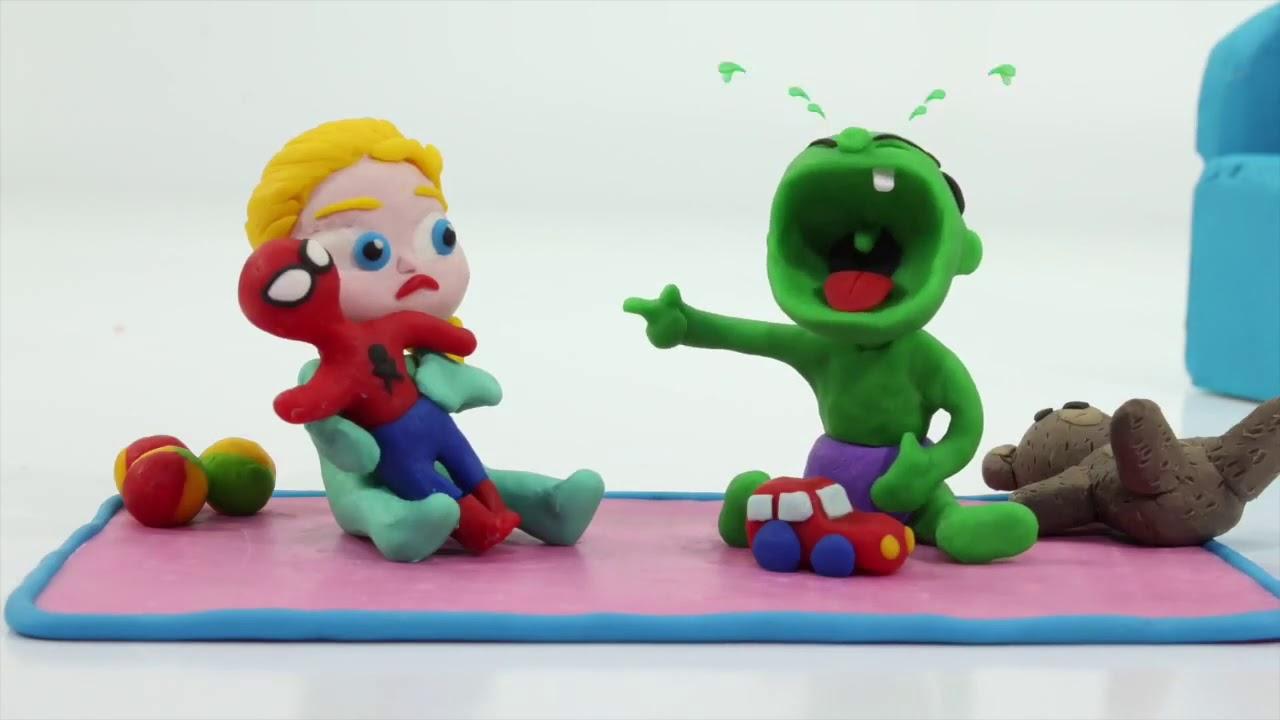 Эльза Халк торт шалость мультфильмы из пластилина плей до
