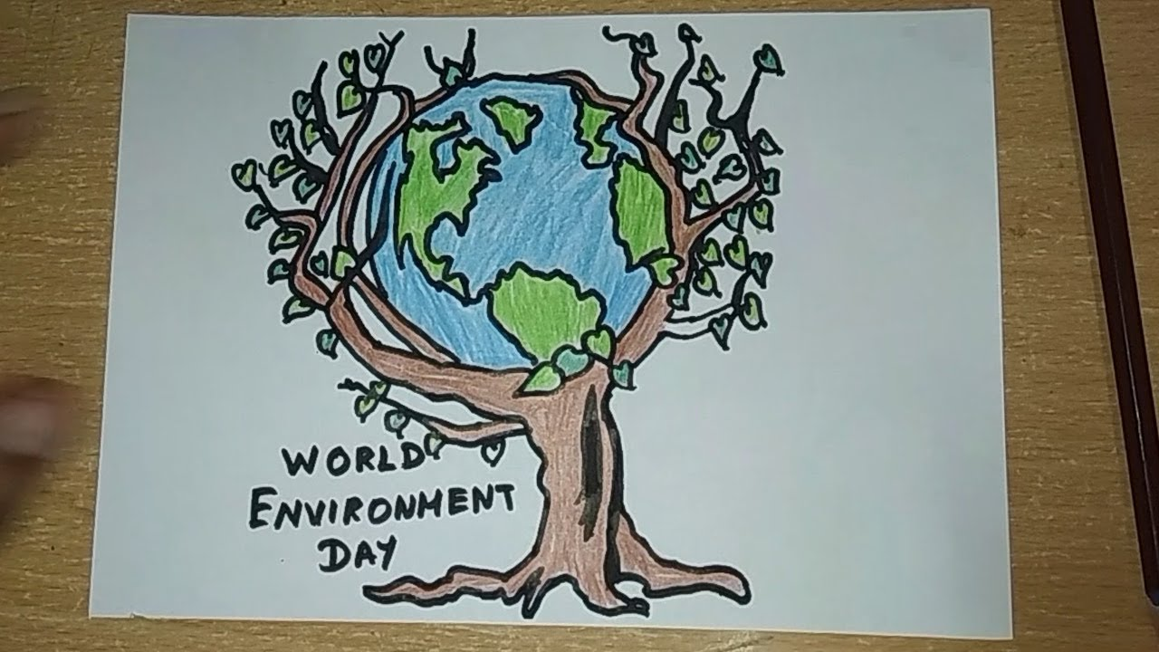 How to draw world environment day drawings for kids save tree save earth drawing