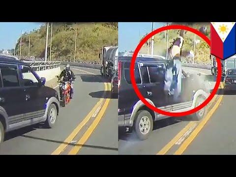 Motorista tumambling sa ere dahil binangga ng nag-overtake na SUV — TomoNews