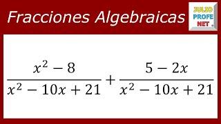 Suma de fracciones algebraicas - Ejercicio 1