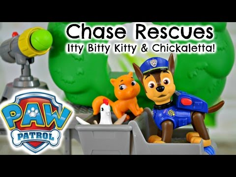 paw-patrol-rescue-training-center-chase-rescues-itty-bitty-kitty-&-chickaletta-video-toy-review