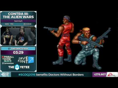 Contra III The Alien Wars by TheDrifter18 in 0:14:58 - SGDQ2016 - Part 71