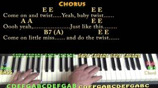 The Twist (Chubby Checker) Piano Cover Lesson in E with Chords/Lyrics