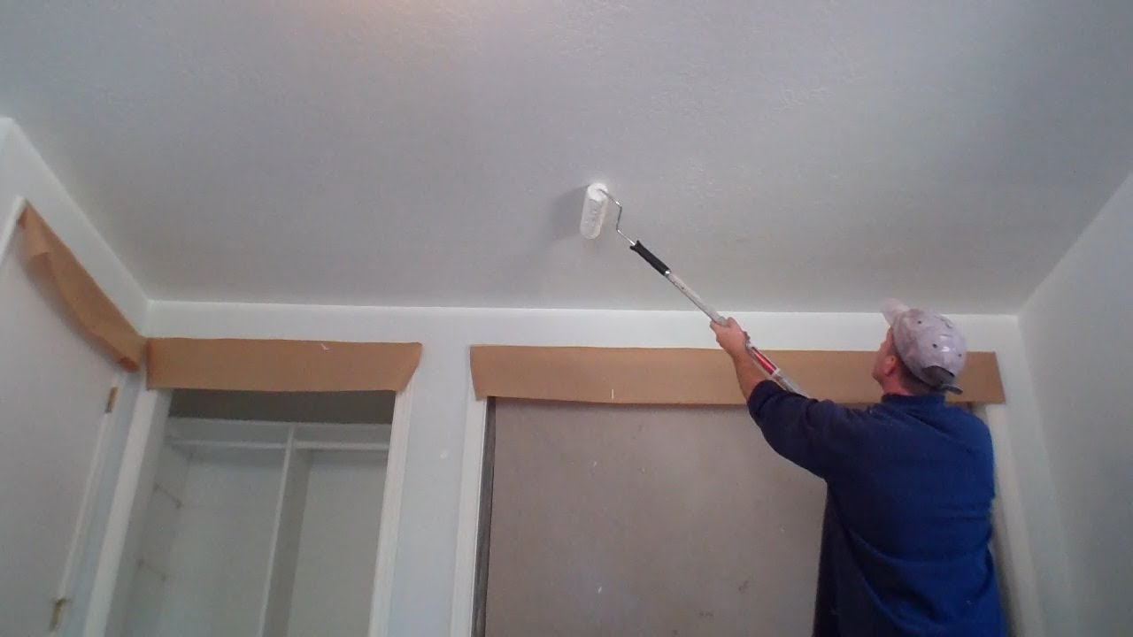 interior painting step 2 painting the ceiling youtube With steps to paint your bathroom ceiling