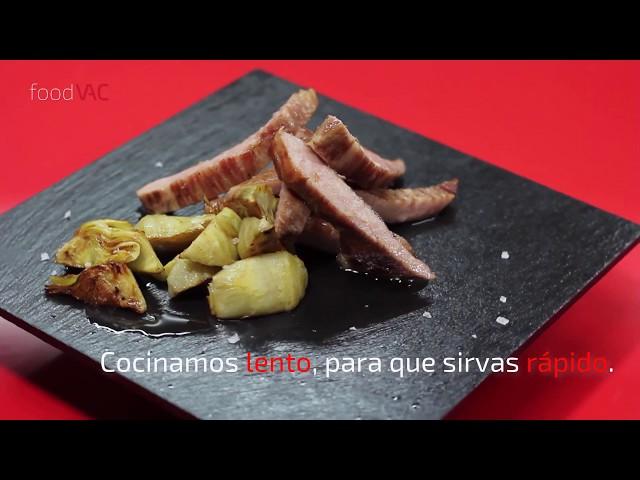 Regeneración Secreto de Cerdo Ibérico con Alcachofas foodVAC