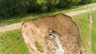 Uszkodzenie wału przeciwpowodziowego w Ostrołęce
