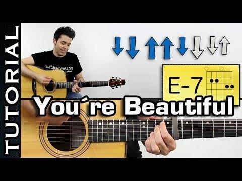 Como tocar James Blunt - You're Beautiful Con la intro en guitarra Tutorial completo