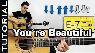 Como tocar James Blunt  You're Beautiful Con la intro en guitarra Tutorial completo
