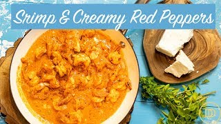 Shrimp in a Creamy Roasted Red Pepper Sauce/ Low-Carb Recipe