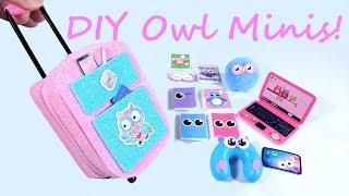 9 DIY Owl Miniatures - Zippered Suitcase, Travel Accessories, Etc.
