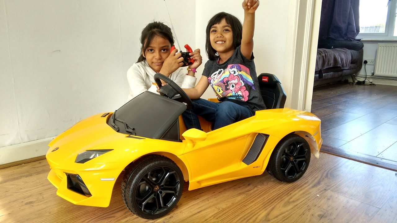lamborghini aventador ride on car surprise unboxing and playtime