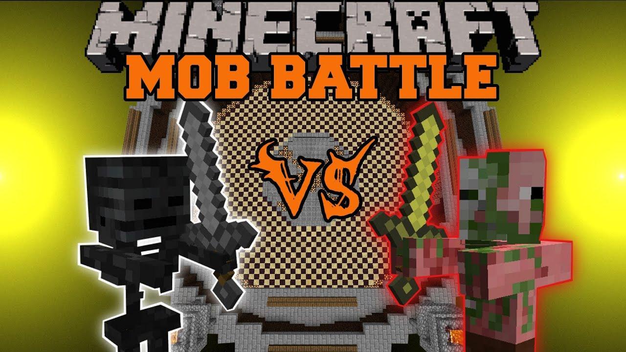 ZOMBIE PIGMAN VS. WITHER SKELETON - Minecraft Mob Battle - Arena Battle