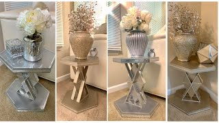 GLAM END TABLES Using DOLLAR TREE Wood Decor || Dazzling Designs By Denise