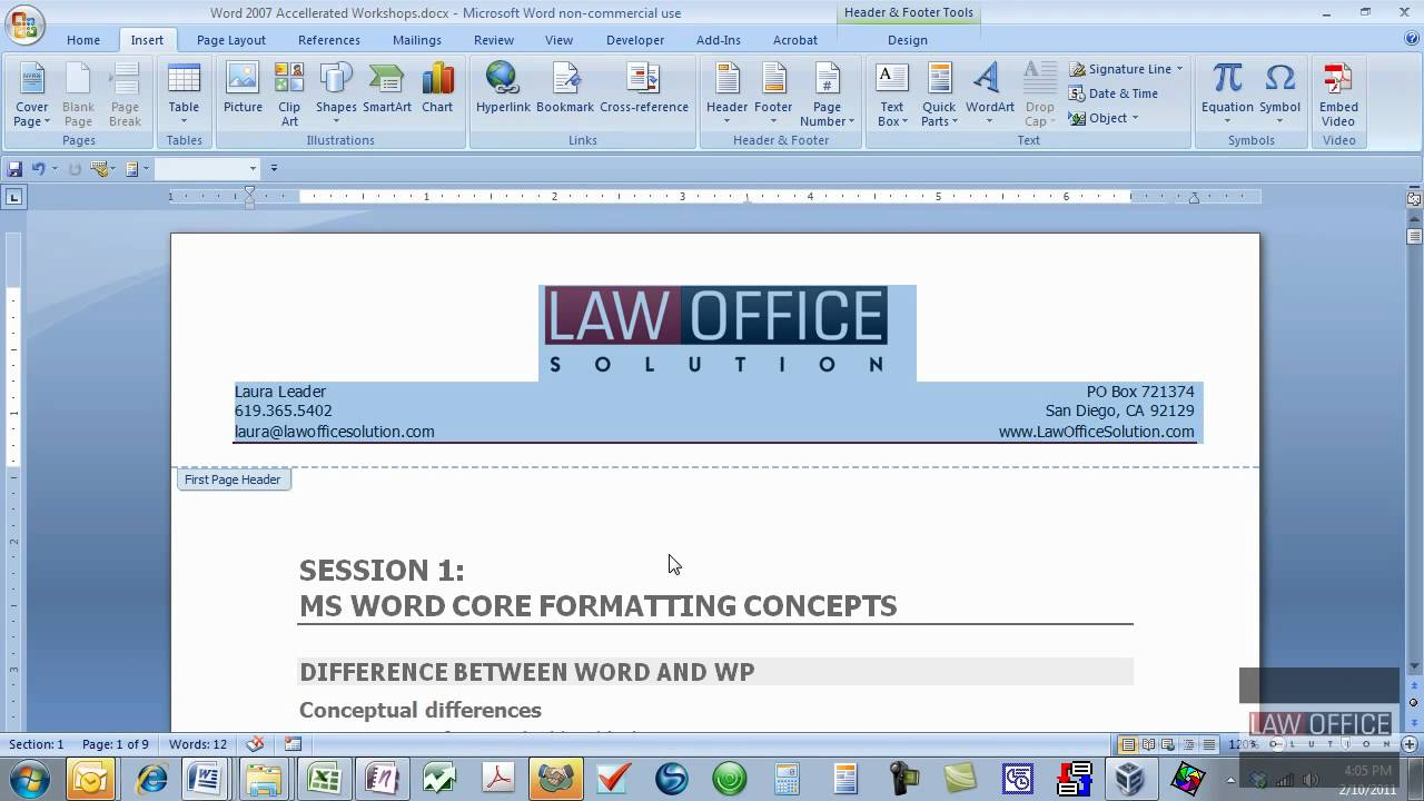 letterhead format in word 2007