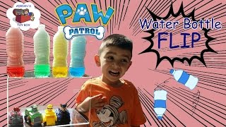 AMAZING WATER BOTTLE FLIP CHALLENGE PAW PATROL RESCUE RACERS EDITION FUN FOR KIDS