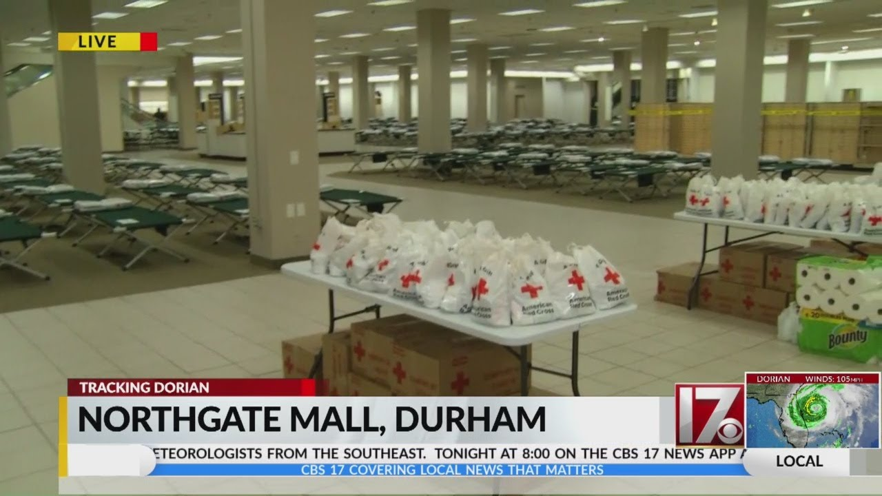 Northgate Mall in Durham serving as Dorian evacuation center