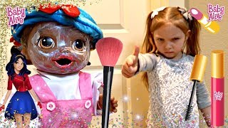 BABY ALIVE sneaks MAKEUP! INSTAGRAM makeup TRENDS! The Lilly and Mommy Show. The TOYTASTIC Sisters