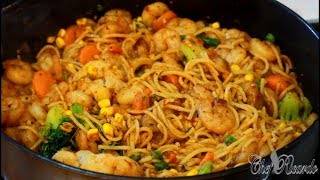 Stir Fried King Prawns With Vegetables And Spaghetti | Recipes By Chef Ricardo