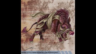 Moccus the Mummified Boar Speed-painting