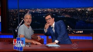 Jon Stewart Takes Over Colbert's Late Show Desk by : The Late Show with Stephen Colbert