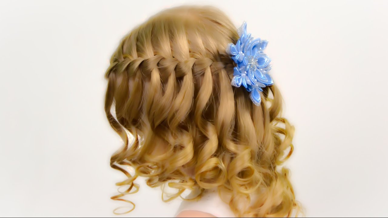 Waterfall Brading On Wavy Hair Party Hairstyle For Little Girl 9