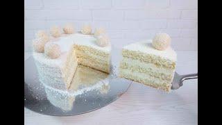 торт РАФАЭЛЛО идеальный КОКОСОВЫЙ БИСКВИТ конфетки КОКОСОВЫЕ быстро и вкусно Сборка торта РАФАЭЛЛО