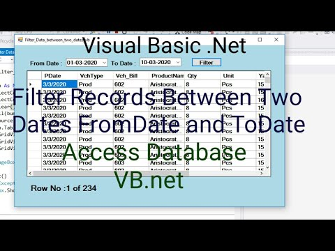 VB.net | Filter Records Between Two Dates | FromDate And