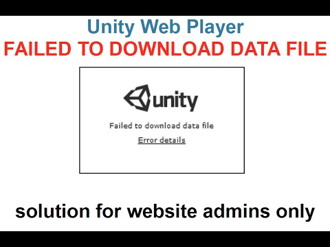 Unity Tutorial - Web Player Failed to Download Data File