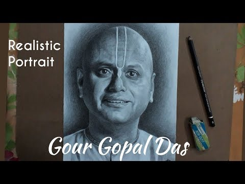portrait-of-gour-gopal-das-|-pencil-drawing-✍-|-staedtler-mars-lumograph-pencil