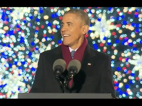 Obama Jokes At Christmas Tree Lighting