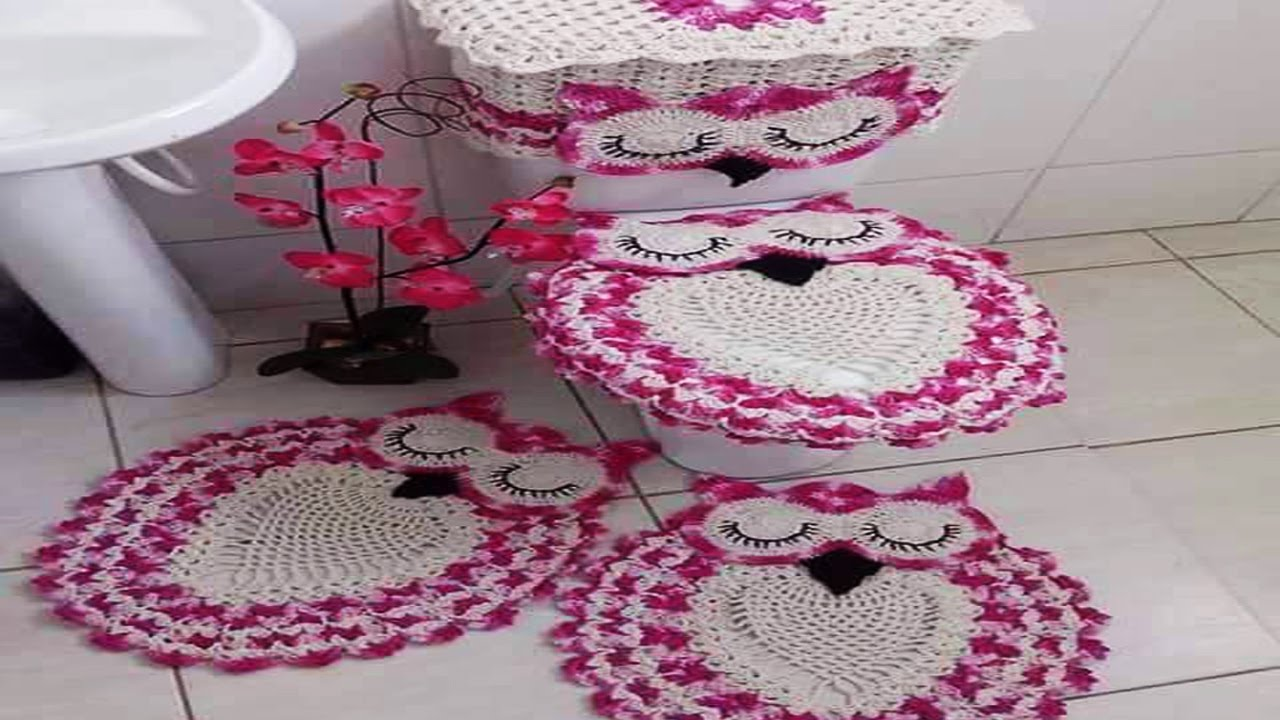 Set juego de ba o tejido en crochet ganchillo youtube for Set de bano tejidos
