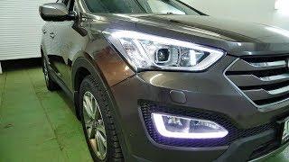 Hyundai Santa Fe III tuning headlight, normal DRL-yilda LEDs ta'mirlash, keldi bi ob'ektiv o'rnatish