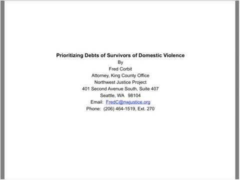 Debt Prioritization and Collection Defense for DV Survivors