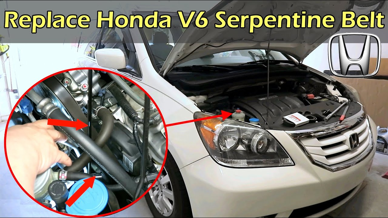 replace honda v6 serpentine drive belt honda odyssey pilot ridgeline mdx [ 1280 x 720 Pixel ]