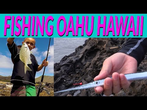 FISHING OAHU HAWAII Using Floaters - Using Bread And Squid - ROCKY Shoreline Fishing