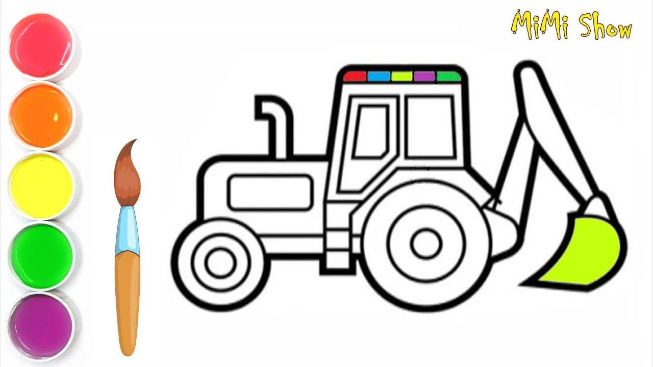 Comment Dessiner Un Tracteur Tracteur De Coloriage De Dessin Anime Pour Enfants Youtube