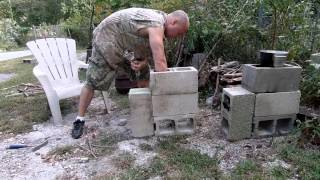 Four block rocket stove with the Driveway Primitive