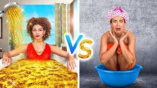 RICH Princess VS BROKE Princess    How to Become POPULAR! Princess for 24 HOURS by 123 GO! CHALLENGE