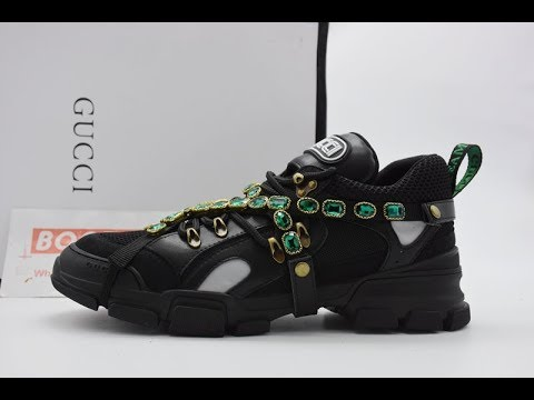 12f73717f41 Unboxing   Review Gucci Flashtrek Leather Sneaker with Crystals Black From  bootsfy