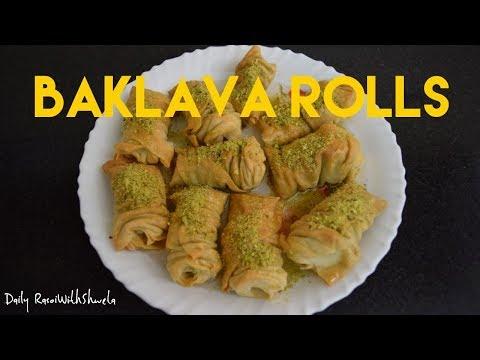 Baklava Rolls Recipe in Hindi   Diwali Special Sweet   Middle Eastern Dessert  