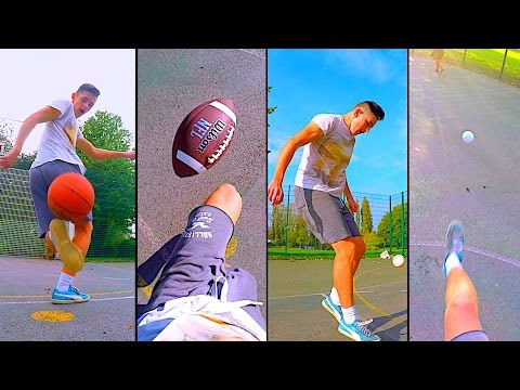 CRAZY Football Skills & Trick Shots With Basketball, American Football, Baseball & Golf Ball