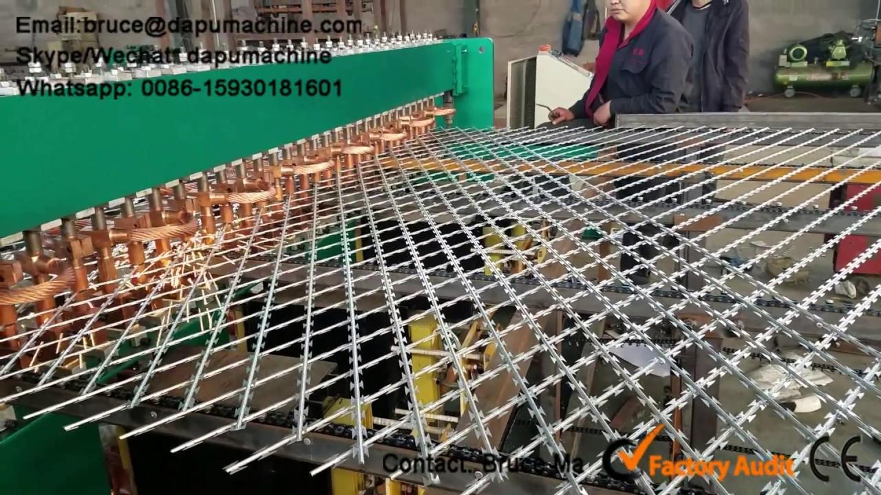 Razor wire fence welding machine, Razor fence mesh machine - YouTube