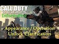 Call of Duty Ghosts - Operations / Appearance Unlock Clarification