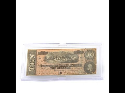 $10 Confederate Note from the Lake Charles Hoard